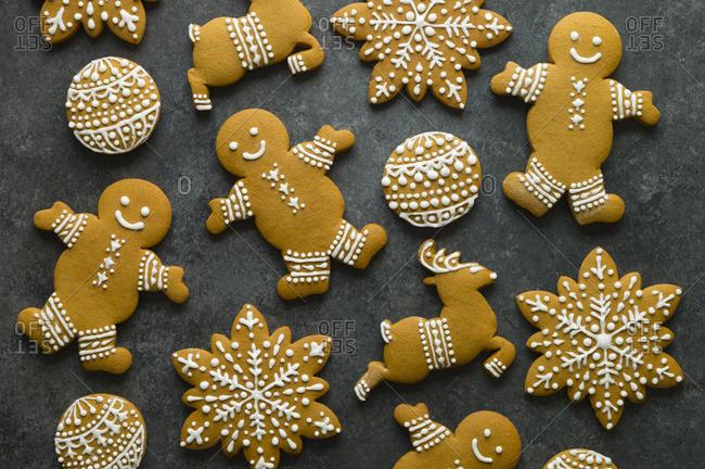 Top view of gingerbread cookies