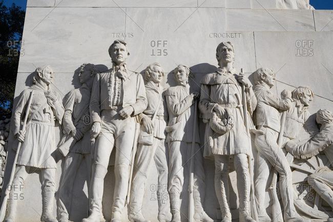 San Antonio, Texas - Jan. 8, 2017: Close-up of figures at the Alamo Cenotaph monument