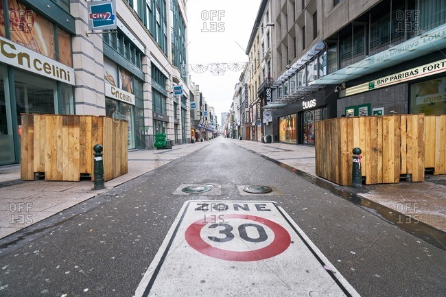 Brussels, Belgium - Jan. 15, 2017: Zone 30 sign on an empty city street