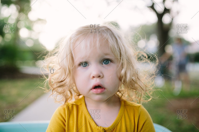 Women Blonde Blue Eyes Long Hair Wavy Hair Portrait: Portrait Of A Toddler Girl With Curly Blond Hair And Blue