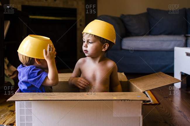 Playful brothers with bowls on head sitting in cardboard box at home