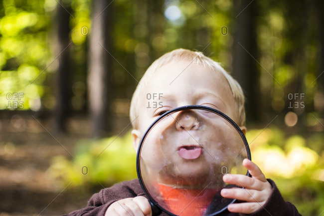 Close-up of boy holding magnifying glass while standing in forest