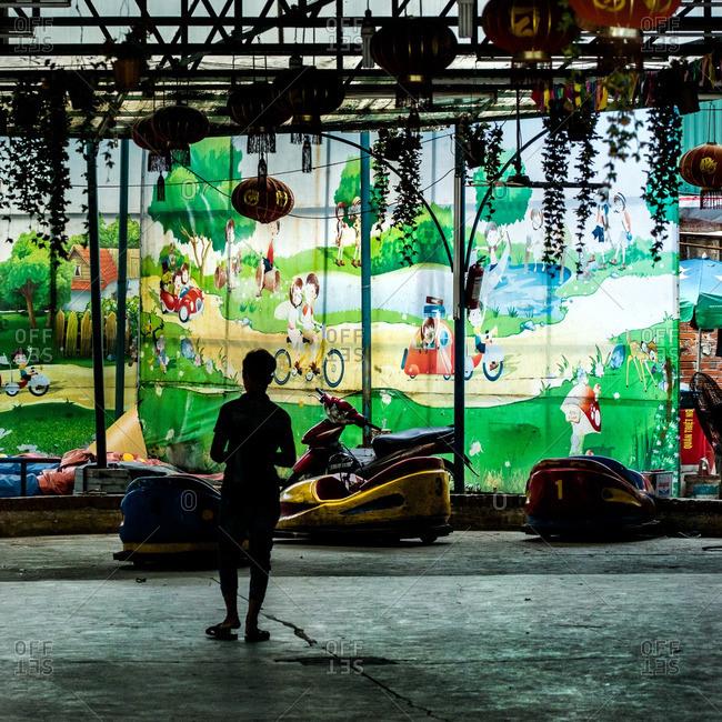 Hanoi, Vietnam - July 2, 2016: Bumper car attraction at the Hanoi, Vietnam Zoo