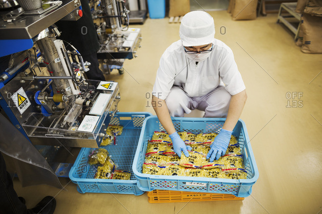Japan - August 4, 2016: Worker in a factory producing Soba noodles, packing fresh noodles for distribution and sale.