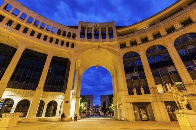 Montpellier, Occitanie, France - April 5, 2011: France, Occitanie, Montpellier, Modern architecture of Quartier Antigone