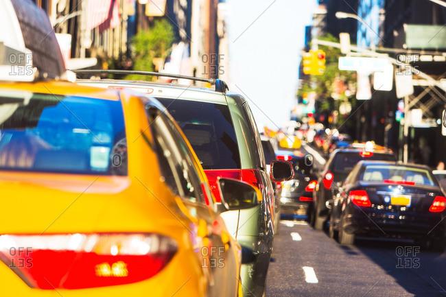 USA, New York, Car traffic in big city