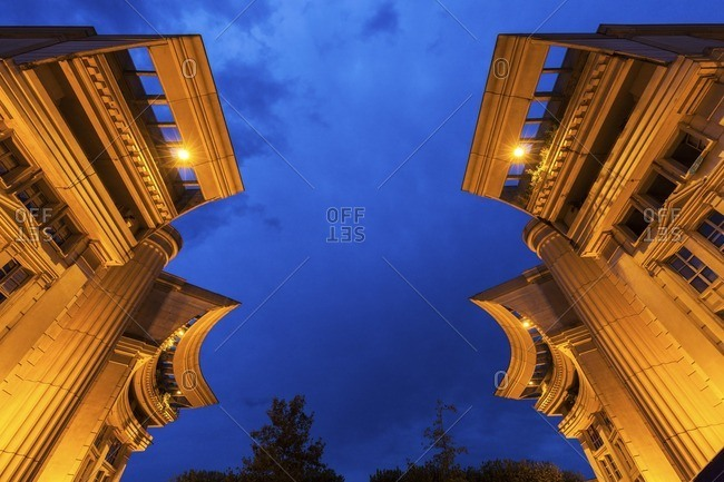 France, Occitanie, Montpellier, Low angle view of modern architecture of Quartier Antigone