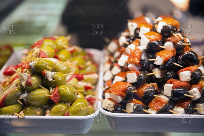 Olive tapas at the Mercado de San Miguel market in Madrid, Spain