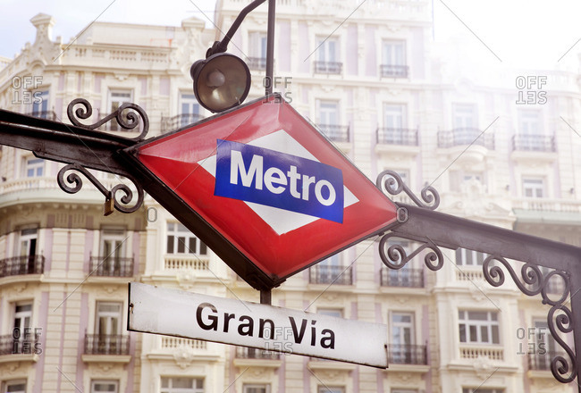 Subway sign in Madrid, Spain