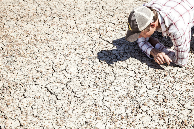 Man studying the ground in arid setting