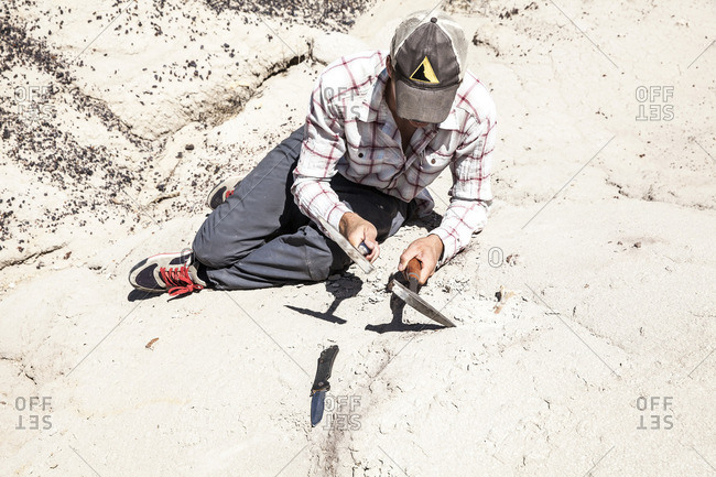 Paleontologist collecting soil sample