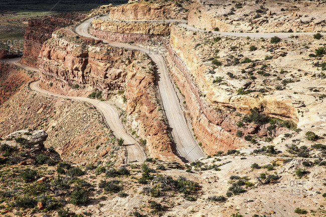 Road through rock hills, New Mexico