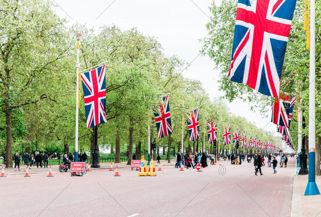 London, England - May 4, 2015: Union Flags decorate the Mall in London