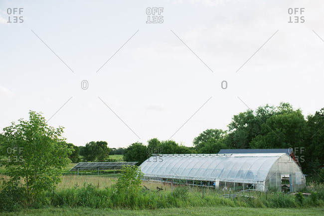 Farm with a greenhouse