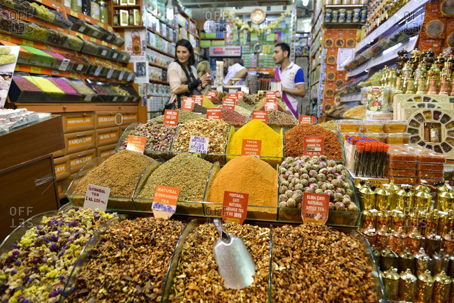 Istanbul, Turkey - October 26, 2016: Spices for sale in a shop in the Grand Bazaar