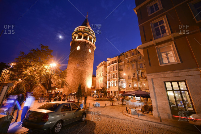 Istanbul, Turkey - October 26, 2012: Galata Tower illuminated at night