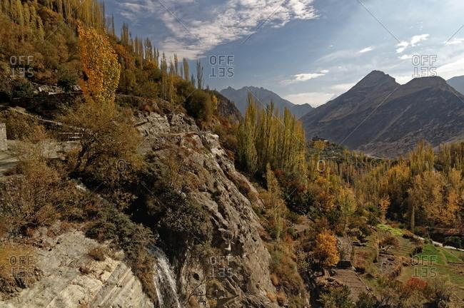 Cliffs and farmland in Hunza, Pakistan