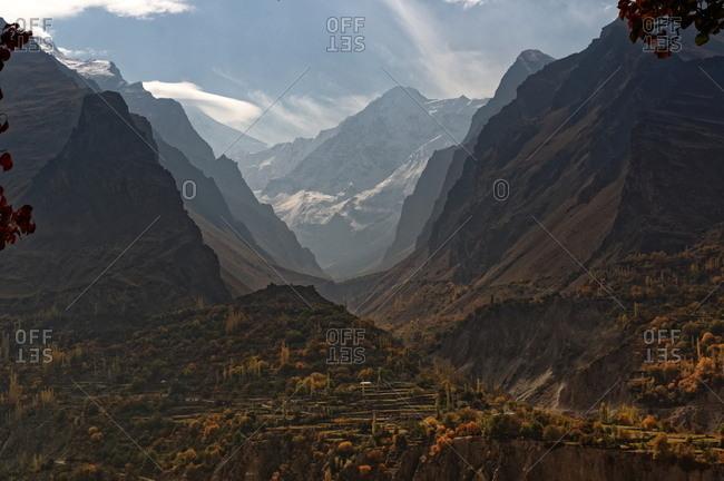 Rural valley farmland in autumn, Pakistan