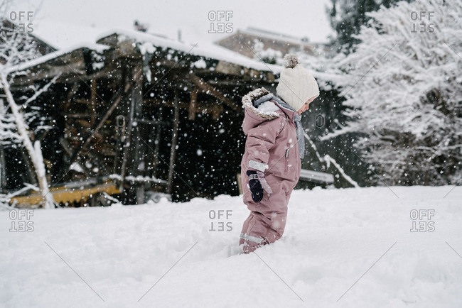 Toddler girl in pink snowsuit exploring snowy backyard