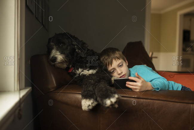 Boy relaxing with dog while using smartphone
