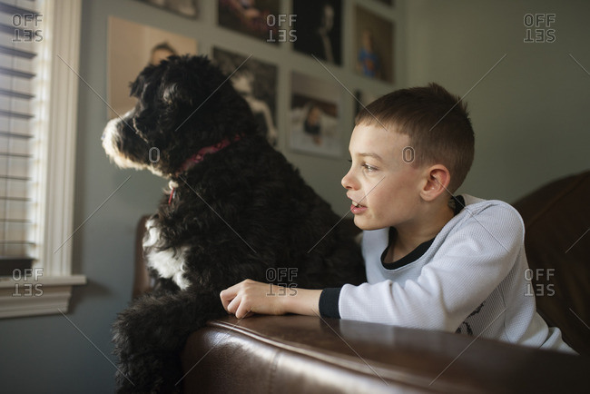 Boy looking out window with his dog