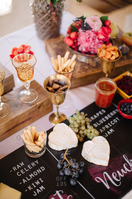 Snack table at wedding reception