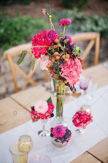 Flower arrangements on wedding table