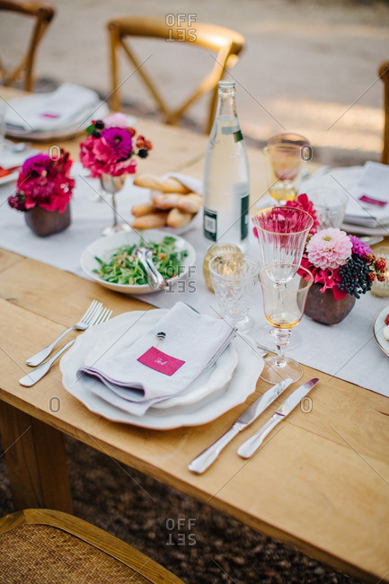 A place setting at wedding table