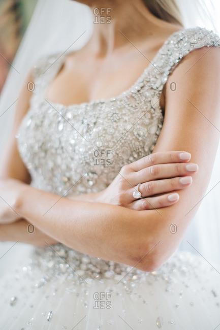 Bride in jewel covered bodice