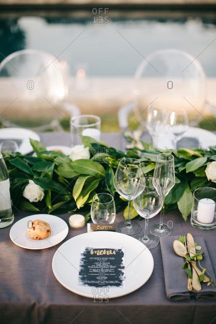 Wedding dinner table place setting