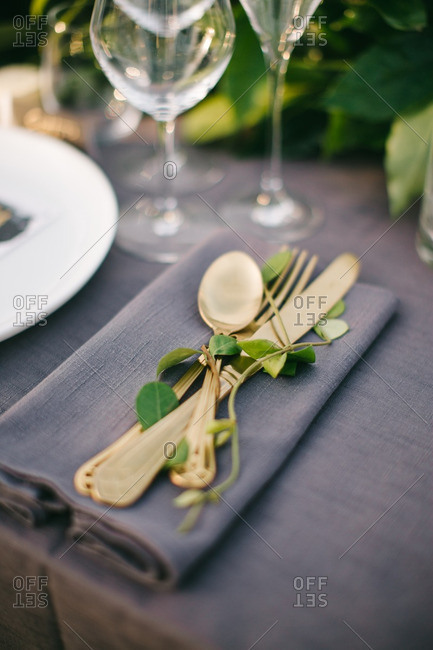 Silverware with vines on wedding table