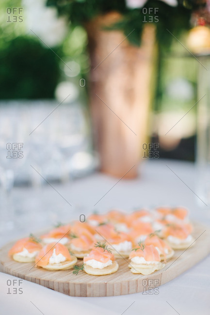 Wedding appetizers on outdoor table
