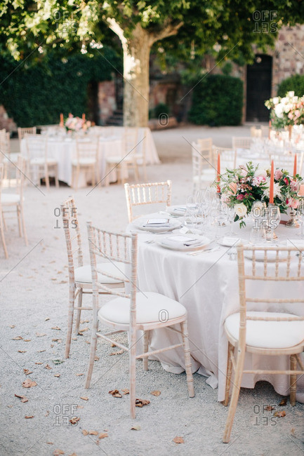 Wedding reception tables on terrace