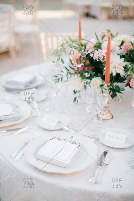 A dinner table at wedding