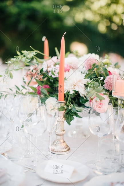 Candles on wedding dinner table