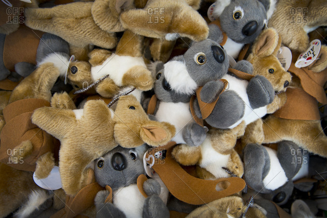 Pile of kangaroo and koala bear toys in Sydney, Australia