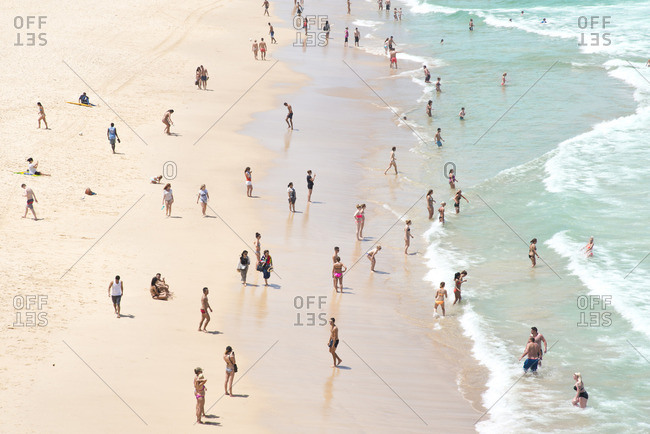 Beachgoers on Bondi Beach, Sydney Australia