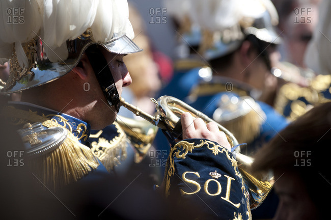 Seville, Spain - April 3, 2010: Band performing in an Easter procession
