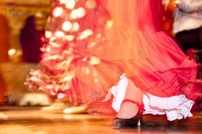 Feet and skirt of a Flamenco dancer in Madrid, Spain