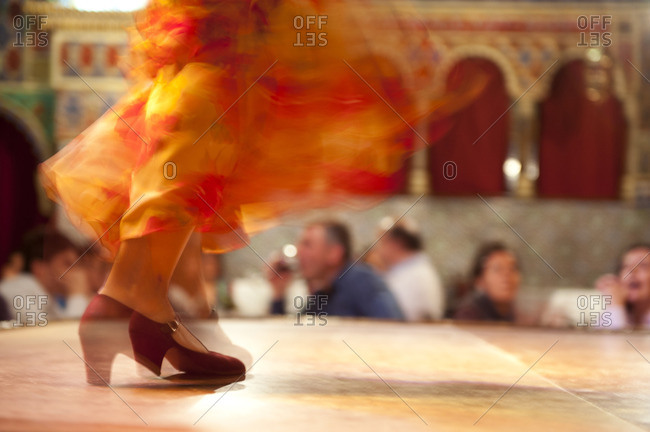 Legs of a Flamenco dancer in motion in Madrid, Spain