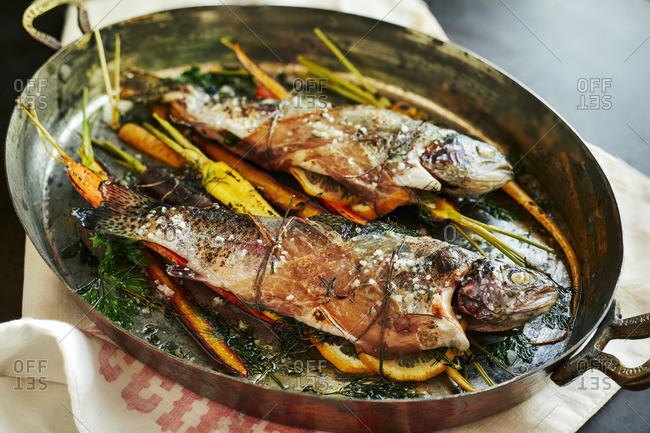 Baked trout and carrots