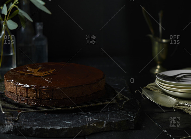 Chocolate cake with leaf on top