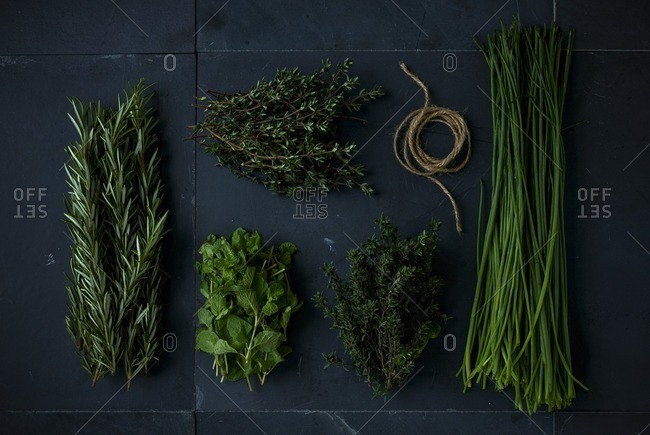 Bunches of herbs by string