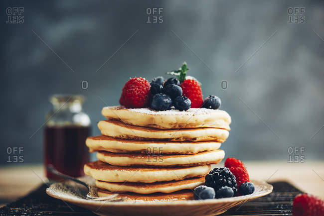 Pancakes with variety of berries