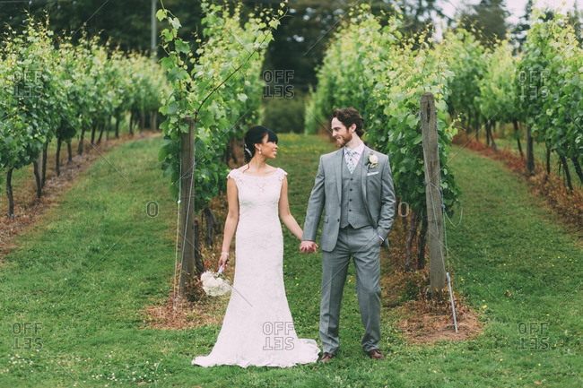 Newly married couple in a vineyard holding hands and smiling