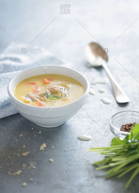 Creamy chicken Soup with Vegetables, Herbs and Spices