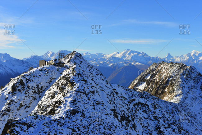 Eggishorn cable car station and the Matterhorn in the distance, Jungfrau-Aletsch, UNESCO World Heritage Site, Valais, Swiss Alps, Switzerland, Europe