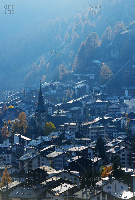 Ariel view of Zermatt, Valais