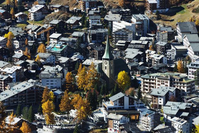 Scenic view of Zermatt in autumn
