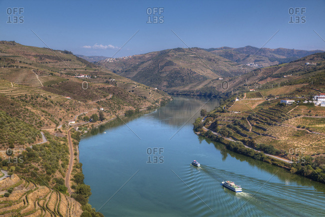 Tourist boats, vineyards and the Douro River, Alto Douro Wine Valley